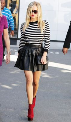 5 Ways to Wear a Black Leather Skirt: With a Striped Shirt
