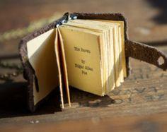 The Raven Book Necklace with Poem Writing for book lover teacher librarian English - Edgar Allan Poe novel pendant
