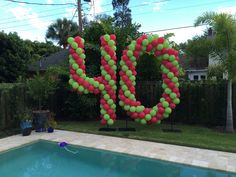 10 foot tall numbers for milestone birthday by the pool