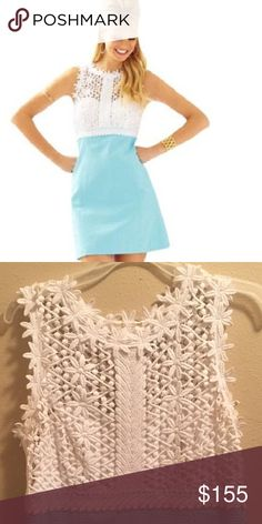 Lilly Pulitzer Dress A blue and white lace bodice Lilly Pulitzer dress. Worn one time to a bridal shower. Super cute and comfy! No rips, stains or tears. In perfect condition! Lilly Pulitzer Dresses