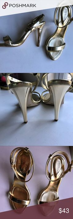 BCBG metallic gold peep toe heels Peep toe heels with ankle strap. Minor scratches on the back of the heel but nothing noticeable. BCBG Shoes Heels