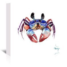 "Breakwater Bay Crab 2 Painting Print on Wrapped Canvas Size: 5"" H x 7"" W x 0.5"" D"