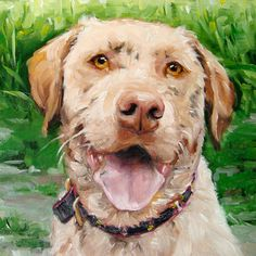 "MUDDY WATERS, custom Pet Portrait Oil Painting by puci, 12x16"". $347.00, via Etsy."