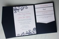 navy and pink floral pocketfold wedding invitations by emdotzee navy blue wedding invitations Navy And Silver Wedding Invitations, Black Wedding Invitations, Printable Wedding Invitations, Wedding Invitation Design, Wedding Stationary, Invitation Ideas, Pocketfold Invitations, Invitation Cards, Invites
