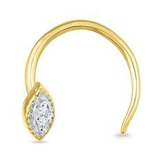 Jpearls 18kt Designer Gold Nose Pin | Gold-Diamond Nose Pins