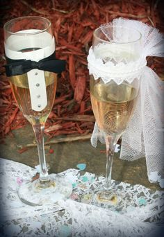 Bride & Groom Decorative Wedding Glasses #personalized @Kailey O'Connor can we make these to fit you two?