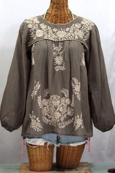 """Siren's """"La Mariposa Larga"""" Embroidered Mexican Blouse in Fog Grey.  Olè!  #mexicanblouse"""