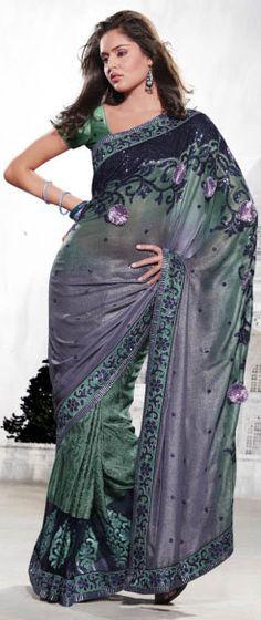 Designer Dark Green Saree
