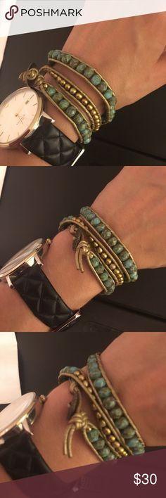 Gold and aqua wrap bracelet Very pretty soft gold Jewelry Bracelets