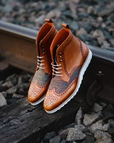 Rogue Sport Boots in Congac + Tweed wingtip boots Men's Shoes, Shoe Boots, Footwear Shoes, Shoes Men, Men Dress Shoes, Dress Clothes, Mens Boots Fashion, Mens Boots Style, Men Fashion