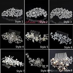 Wholesale In Stock 9 Style Bride Hair combs Bling Jewelry Pearls Flower Wedding Hair Brush wedding hair accessories With Crystal NO.132, Free shipping, $12.72/Piece | DHgate Mobile