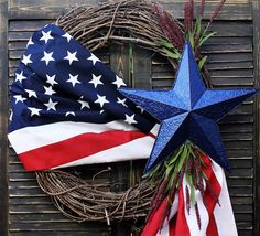 4th of July Decorations Wreath Tutorial. Bring the spirit of summer and patriotism to your front door with this grapevine wreath tutorial and ideas. Thank you Etsy Shop The Wreatherie for letting if feature! #wreaths #crafts #4thofJuly