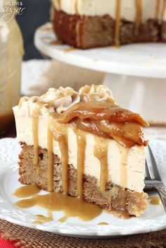 Caramel Apple Blondie Cheesecake - apple spice blondie topped with no bake caramel cheesecake, finished with cinnamon apples and caramel sauce