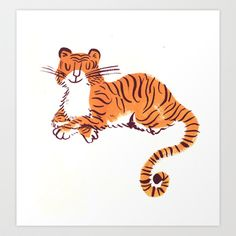 Tiger Art Print by maddyvian Tiger Illustration, Character Illustration, Animal Illustrations, Tiger Drawing, Tiger Art, Tiger Tiger, Cat Art, Art Reference, Character Design