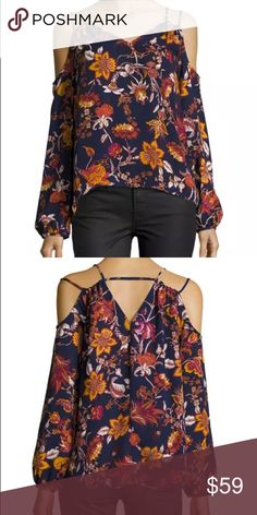 Free Generation Floral Off the Shoulder Blouse Free Generation top in floral print.  V neckline; V'd back.  Long sleeves; cold shoulder cutouts.  Thin double shoulder straps.  Relaxed silhouette.  Straight hem.  Polyester.  Hand wash.  Imported. Free Generation Tops Blouses