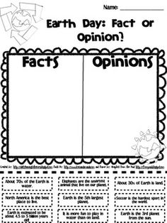 {Freebie} Earth Day: Fact and Opinion - Amanda Zanchelli - TeachersPayTeachers.com Classroom Activities, Classroom Fun, Science Classroom, Teaching Science, Teaching Resources, Earth Day Worksheets, Earth Day Activities, Science Activities, Holiday Activities