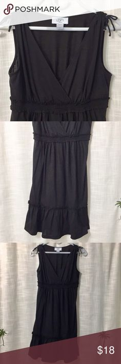 Ann Taylor Loft dress Cute black dress with stretchy bust line. 95% polyester, 5 % spandex.  Barely worn. LOFT Dresses