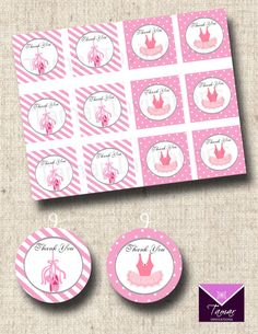 Printable Ballerina Party Favor Tags- Thank You Ballet Slippers and Tutu - INSTANT DOWNLOAD on Etsy, $6.50
