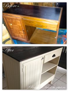 2Perfection Decor: How to Transform a Vintage Desk/Console into a Kitchen Island