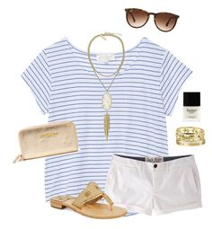"""""""Gold and white"""" by ava-lindsey ❤ liked on Polyvore featuring The Lady & The Sailor, Kendra Scott, Butter London, Lilly Pulitzer, Ray-Ban, Giallo, Jack Wills and Jack Rogers"""