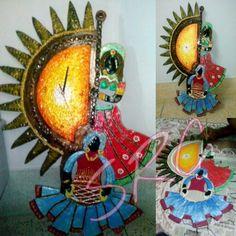 Handmade coloured traditional wall clock