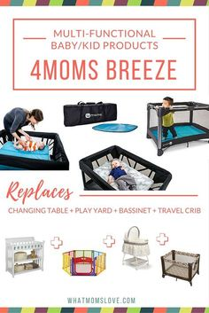 4Moms Breeze is featured as one of our finds for clever, multi-functional products that will grow with your child.  Its primary use is meant as a travel crib, for which it gets top ranking for its convenient travel bag and ridiculously easy set-up. It can also function as a changing table, bassinet and play yard. This product can save you a ton of frustration, space, and best yet, cash!