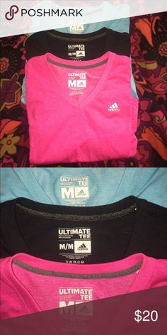 Adidas Ultimate Tee Adidas Ultimate Tees - Blue & black tees are in BNC. Pink tee is EUC and has one small pen mark on lower front of tee - extremely hard to see! Use offer button💕 adidas Tops Tees - Short Sleeve