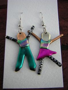Dangle People Earrings Friends Earrings by PatchworkPeoplePins, $10.00