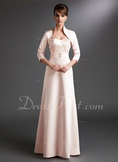 A-Line/Princess Sweetheart Floor-Length Satin Mother of the Bride Dress With Ruffle Beading (008006237)