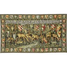 Verdure with Deer and Shields with Border Tapestry