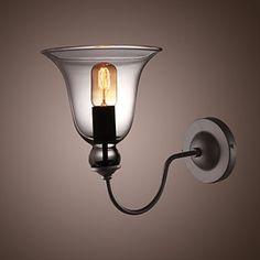 60W Retro Wall Light with Floral Glass Shade & Metal Bracket – LightSuperDeal.com