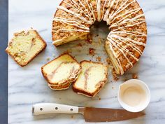 Rich and tender thanks to sour cream, Ina's sweet morning cake is finished with a nutty cinnamon-sugar topping and a drizzle of maple glaze.
