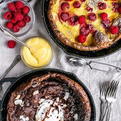 """Oooooh it's almost the weekend! You know Valentine's Day is comin.. Have you started planning?  Breakfast in bed is always a winner! I've teamed up with Holly and Natalie @themodernproper to bring you this week's breakfast treat X 2 !! We made Dutch Babies!  Lemon Raspberry slathered with Lemon Curd is profile linked... Find Double Chocolate with Vanilla Bean Whipped Cream @themodernproper profile linked!  So much deliciousness to be had! Y'all have a beautiful end of week!  Traci…"