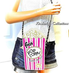 Betsey Johnson IN A JIFF Pink Stripe Popcorn Shoulder Bag Purse NWT #BetseyJohnson #ShoulderBagClutchCrossBody