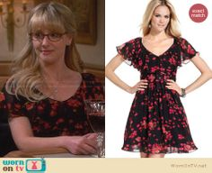 Bernadette's black and red floral dress on The Big Bang Theory. Outfit Details: http://wornontv.net/26689 #TheBigBangTheory #fashion