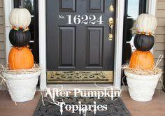 Pumpkin Topiaries // Great Idea from Kim at Sand & Sisal Holidays Halloween, Halloween Kids, Halloween Pumpkins, How To Make Pumpkin, Diy Pumpkin, Spooky Decor, Diy Halloween Decorations, Fall Decor, Holiday Decor
