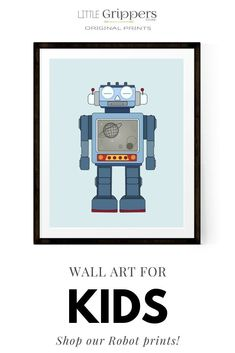 This robot print is perfect wall art for a gender-neutral, fun kids room. Part of a set of eight Robot prints based on the tin Robot toys of the 1960s and are perfect for bringing some bright colour to the walls of toddlers rooms, nurseries or playrooms. #robots #prints #nursery #kids #toddlers #gendernetural #kidsgift #homedecor #interiors
