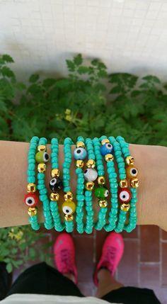 evil eye bracelet  stacking bracelets  turkish by TresJoliePT
