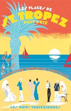 PEL304: 'Les Plages de St.Tropez' by Charles Avalon - Vintage posters - Art Deco - Pullman Editions