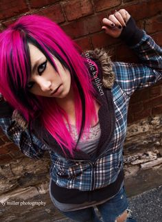 Pink and black hair so cool.. I wouldn't do this but it would look wicked on the right person