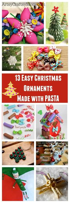 13 Easy Christmas Ornaments for Kids to make with pasta - Pasta angels, pasta elf, pasta gingerbread house, fun and easy pasta ornament craft ideas.