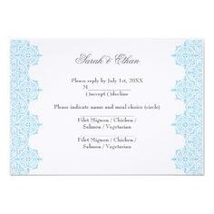 Damask RSVP Wedding Invitations Modern Light blue Damask Wedding RSVP Cards