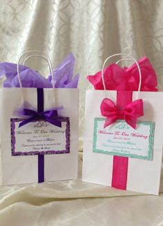 Welcome your traveling guests to their hotel room at your wedding with these personalized goodie bags! Each bag is made to order and