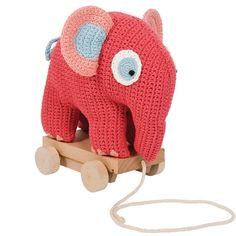 Sebra - gehäkelter Elefant von zum Nachziehen | Babygeschenke – Taufgeschenke, originell und individuell | kidsundkisten.de