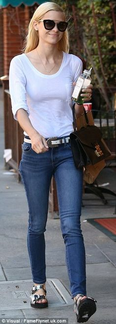 Birthday girl! Jaime King picks up some green juice before getting her nails done at Beverly Hills Nail Design in California on Thursday - a day after her 35th birthday