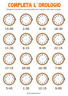 How to Tell the Time Properly in English - ESLBuzz Learning English Clock Worksheets, Kindergarten Math Worksheets, Kindergarten Lessons, Worksheets For Kids, Math Lessons, Math Clock, Italian Phrases, Italian Grammar, Learning English For Kids