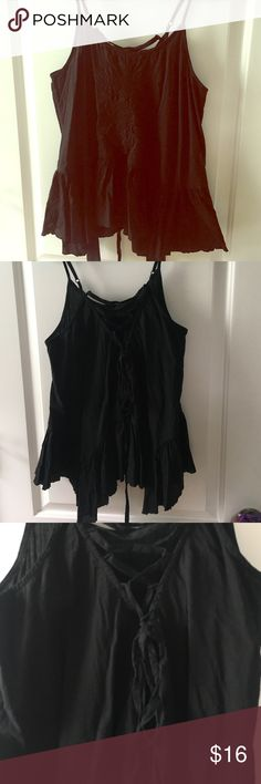 BP black lace up tank Black lace up back tank top. Embroidered on the front. Love this shirt just doesn't fit the same as when I got it. Super cute very good condition. bp Tops Tank Tops