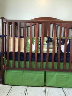Baby Crib Bedding for Boys - Shot Through the Heart - Navy, Green, Tan