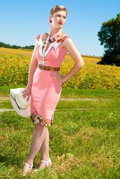 The Dale Dress - Coral - Western Rodeo Cowgirl Pinup Dress. $475.00, via Etsy.