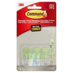 3M Command Brand Glamorous Green Wire Hooks, 3 Hooks 4 Strips
